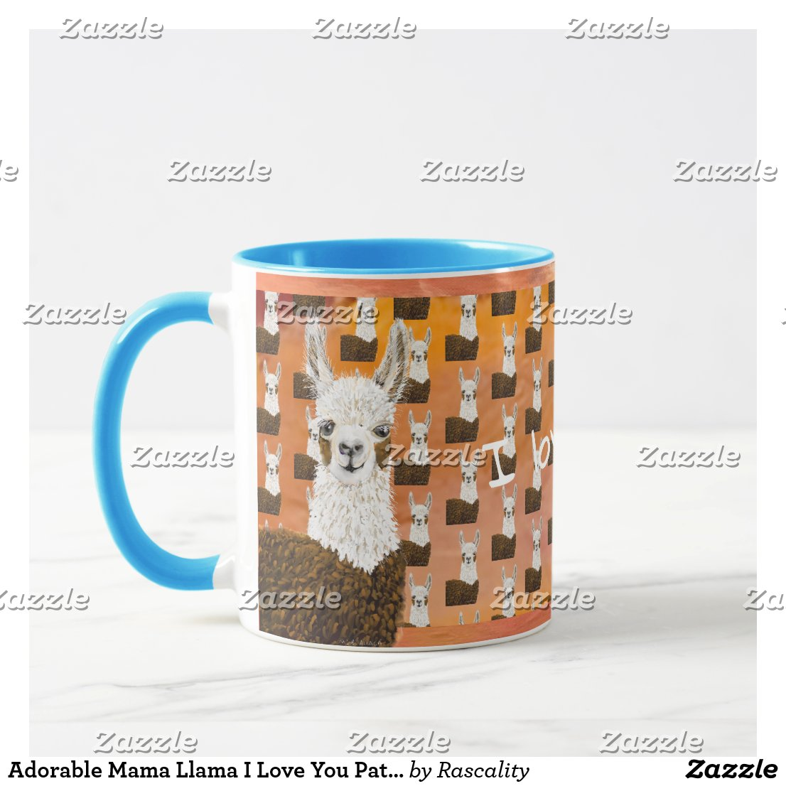 Adorable Mama Llama I Love You Pattern Mug