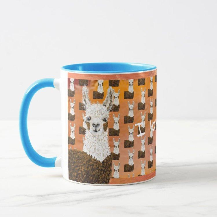 Adorable Mama Llama I Love You Pattern Mug