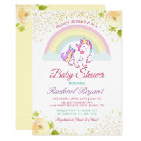 Adorable Rainbow Unicorn Yellow Floral Baby Shower Card