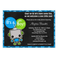 Adorable ROBOT Baby Shower Invitation boy