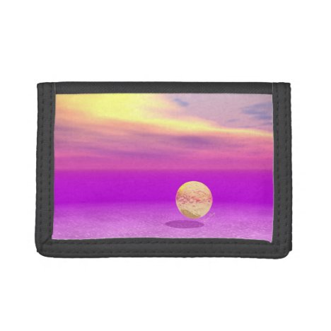 Adrift, Abstract Gold Violet Ocean Trifold Wallet