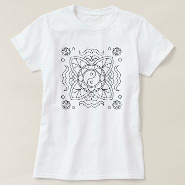 Adult Coloring Yin Yang Mandala T-Shirt