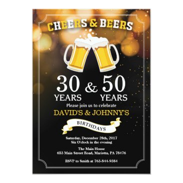 Adult Joint Birthday Invitation Cheers and Beers