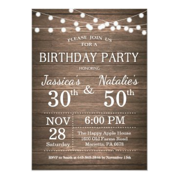Adult Joint Birthday Party Invitation Rustic Wood