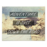 adventure quote  inspirational text on nature art poster