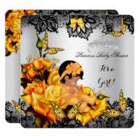 African American Baby Shower Girl Butterfly Yellow Card