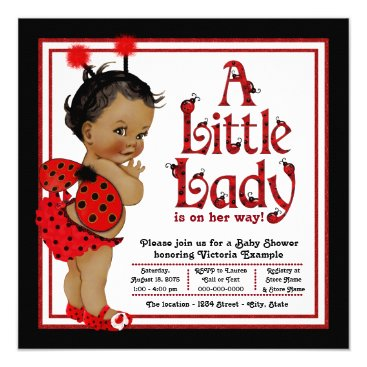 African American Ladybug Baby Shower Card