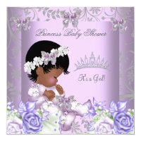 African American Lavender Gray Baby Shower Girl 2 Card
