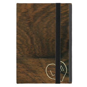 Aged Mahogany Faux Wood Texture with engraving Cases For iPad Mini