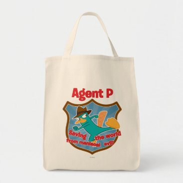 Agent P Saving the world from maniacal evil Badge Tote Bag