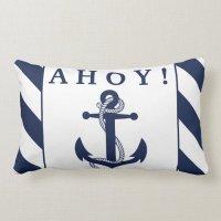 Ahoy! Nautical Anchor Navy Blue & White Stripes Lumbar ...