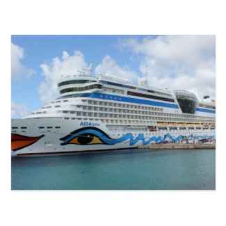AIDAluna cruise ship anchered off Grenada island Postcards