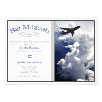 Airplane Above the Clouds Bar Mitzvah Invitation
