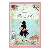 Alice, Flamingo & Cheshire Cat Wedding Thank You Card