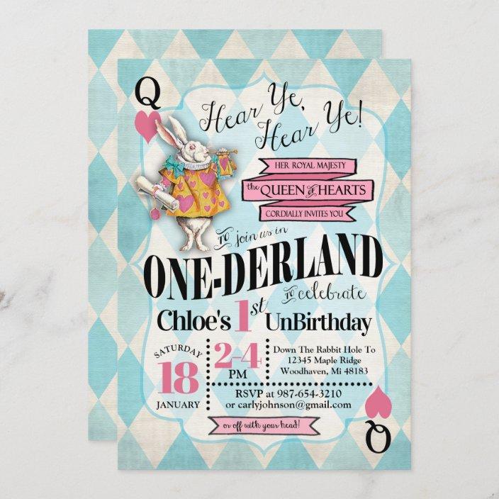 alice in wonderland 1st birthday invitations zazzle com
