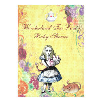 Alice & Pig Baby Wonderland Tea Party Baby Shower Card