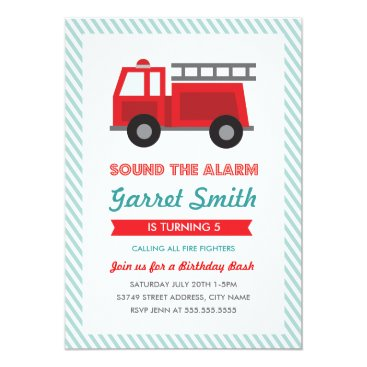 All Fired Up Kids Birthday Party Invitation