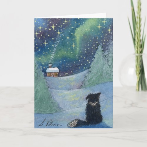 All is bright Border Collie dog Holiday Card