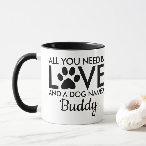 All You Need is Love Dog Name Typography Mug