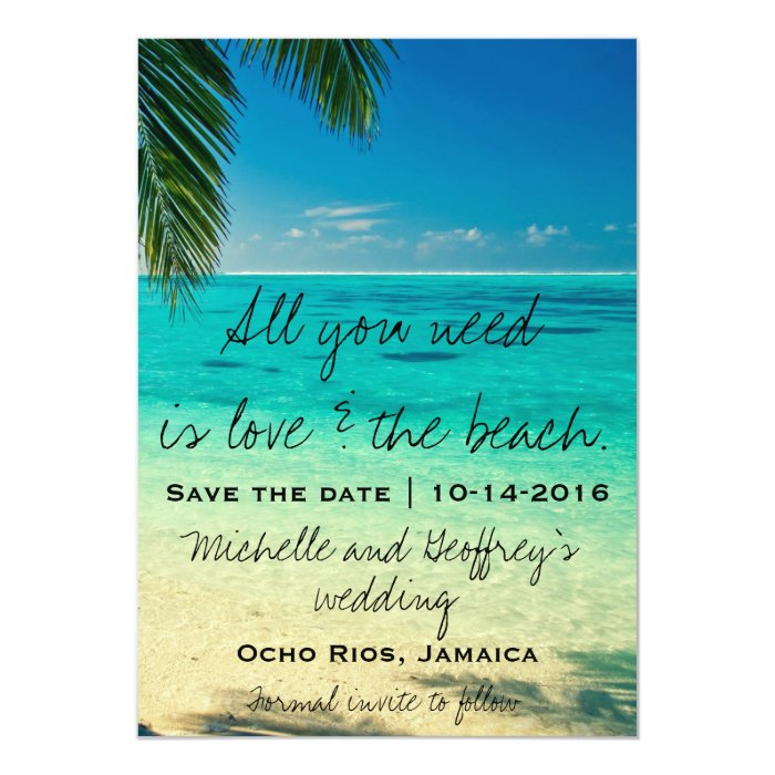 Download All You Need Is Love & The Beach Save the Date Card   Zazzle