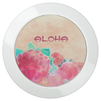 Aloha Watercolor Flowers USB Charging Station