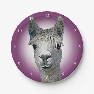 Alpaca Clock 7 Inch Paper Plate