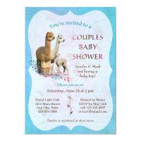 Alpaca Family Couples Baby Shower Invitation Boy