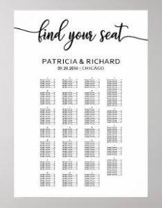 Alphabetical wedding seating chart elegant also charts zazzle rh