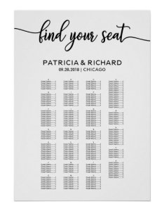 also alphabetical wedding seating chart elegant zazzle rh