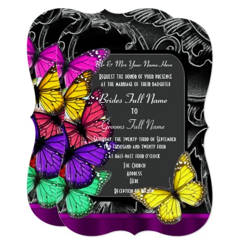 Alternative gothic butterfly invitation