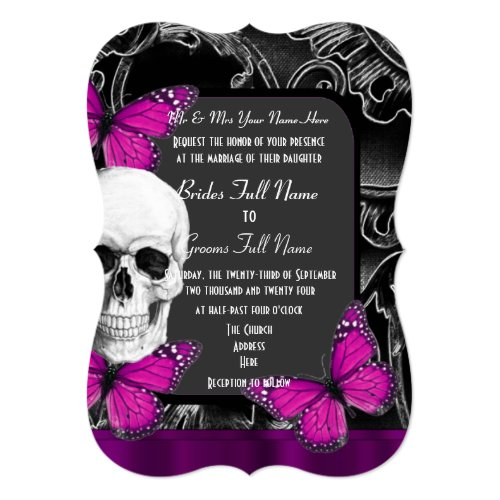 Alternative purple gothic sugar skull wedding invitation