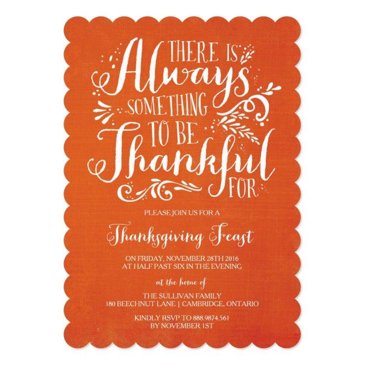 Always Thankful | Linen Thanksgiving Invitation