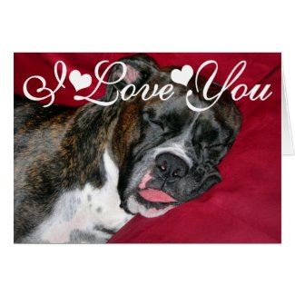 American Boxer Dog Image I Love You Greeting Card
