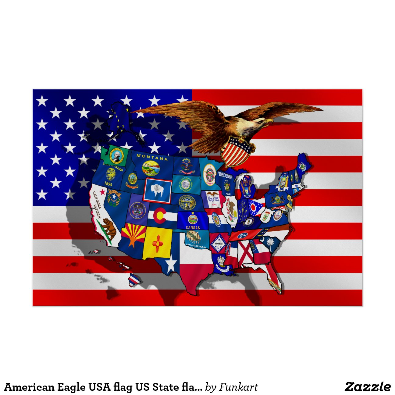 American Eagle Usa Flag State Flags Map Poster