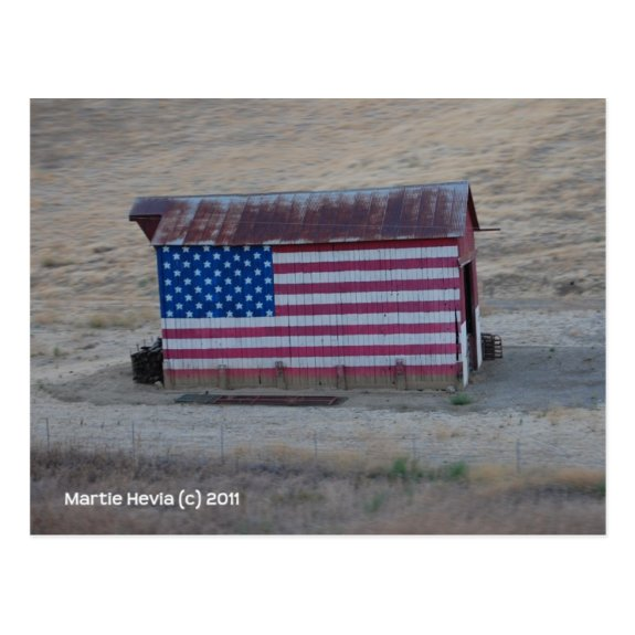 American Flag Barn Post Card
