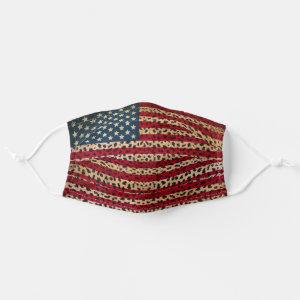 American Flag in Leopard Spot Print Design Cloth Face Mask