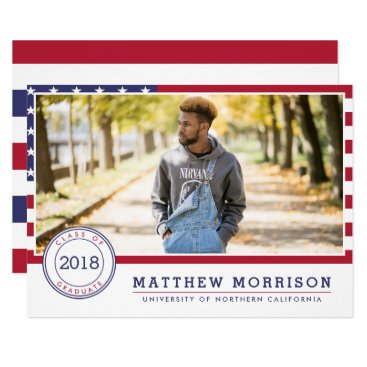 American Flag | Patriotic Photo Graduation Party Invitation