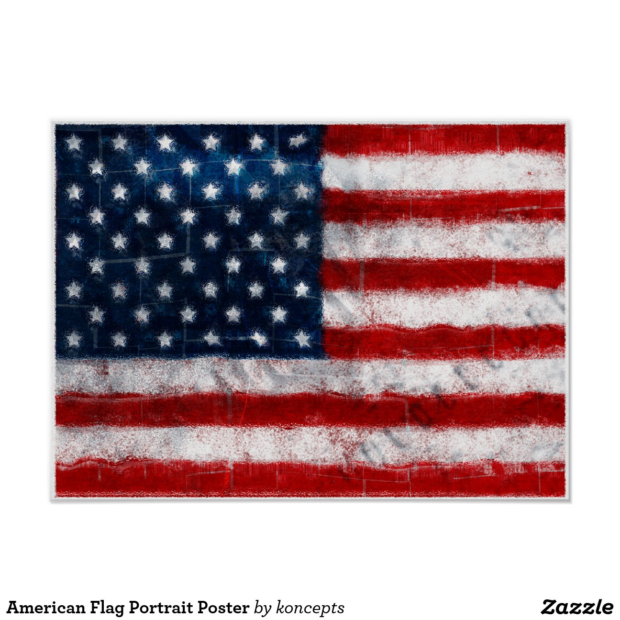 American Flag Portrait Poster