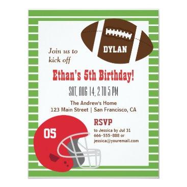 American Football Kids Birthday Party Invitations