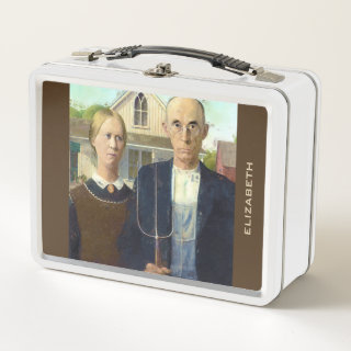 American Gothic Fine Art Oil Painting Metal Lunch Box