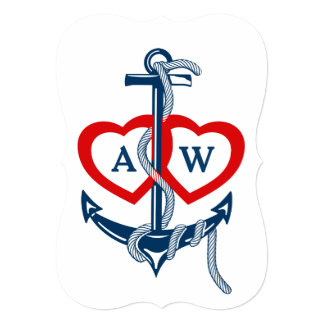 Anchor Nautical Wedding Invitations Blue Red