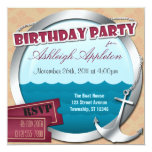 Anchor & Porthole At Sea Birthday Invitations