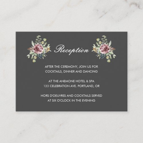 Anemone Blush Gray chic  floral wedding Reception Enclosure Card