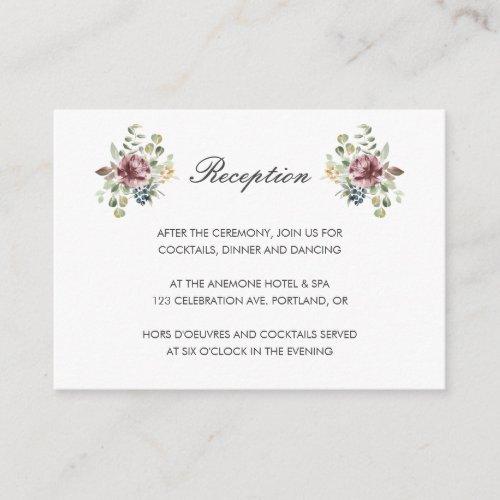 Anemone Blush | Gray chic floral wedding Reception Enclosure Card