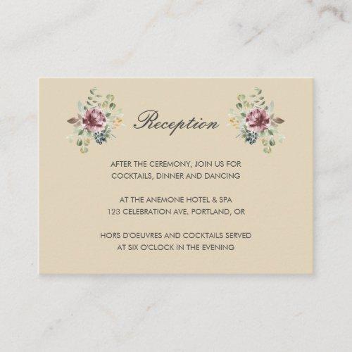 Anemone Blush Neutral  floral wedding Reception Enclosure Card