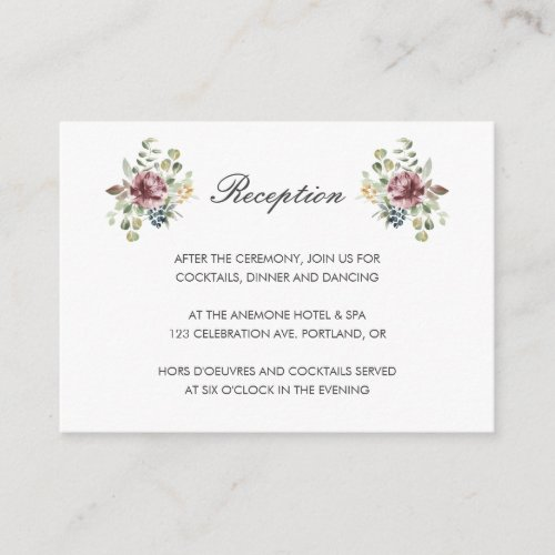 Anemone Blush | Neutral floral wedding Reception Enclosure Card