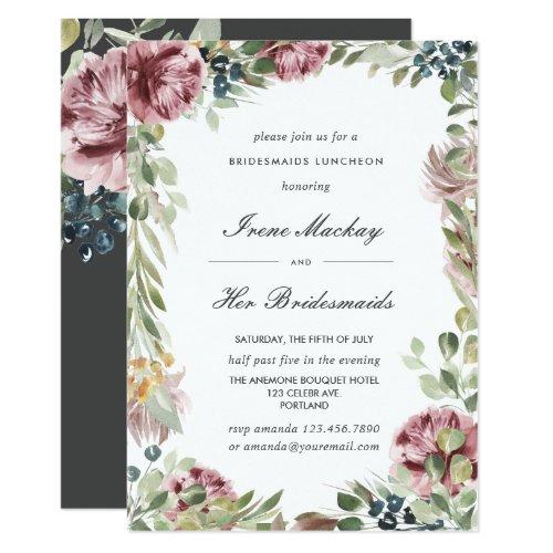 Anemone dark  Gray Botanical  BRIDESMAIDS LUNCHEON Invitation