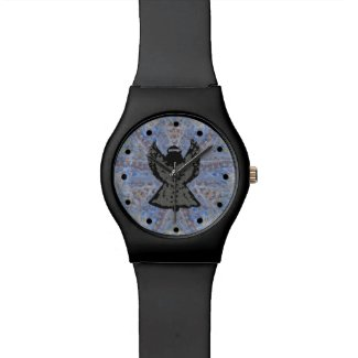 Angel Pattern Art Slick Black Watch