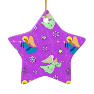 Angels in Violet - Snowflakes & Trumpets ornament