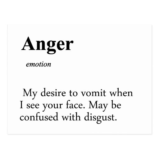 Anger Definition Postcard | Zazzle